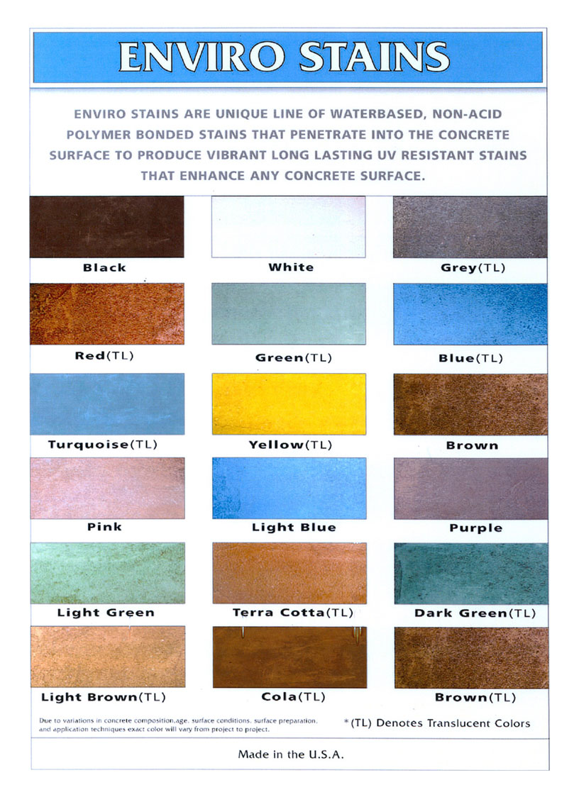 Color chart for concrete stain water base enviro stains color chart nvjuhfo Image collections